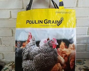 Sturdy market bags made from feed bags