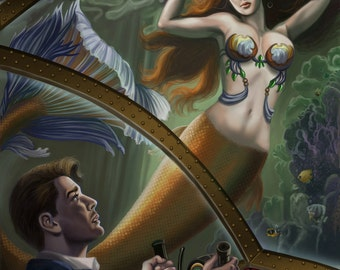 8x10 Signed Steampunk LIttle Mermaid and the Prince Inside a Submarine Print by Sandra Chang-Adair