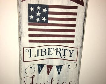 """Primitive Americana Wooden Sign Liberty and Justice For All~11.25"""" x 24"""""""