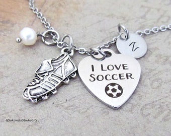 I Love Soccer Shoe Charm Necklace Personalized Antique Silver Hand Stamped Initial Birthstone Soccer Cleat Charm Necklace