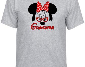Disney Inspired Minnie Mouse with Glasses Grandma Grammy Gramma Nana Custom Vacation tshirt