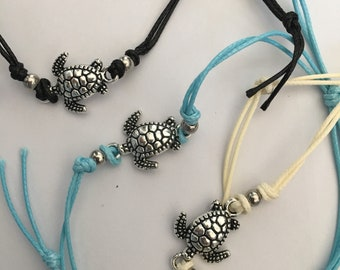 Sea turtle anklet, ankle bracelet with turtle charm, Adjustable Anklet Wax cord bracelet,