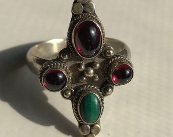 Sterling Silver Multi Stone Ring-Size 8 1/2