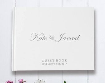 Custom Wedding Guest Book, Unique Wedding Guestbook, Landscape Guest Book, Silver Foil Guestbook, Color Choices Available, GB149