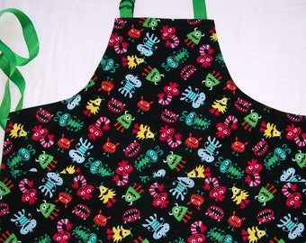Kids Monster Apron - Black and Multi Monster Apron - Size 6