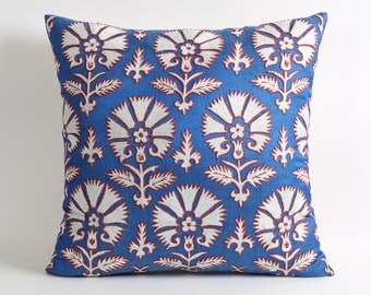 Suzani pillow cover 20x20 Blue white silk hand embroidered suzani decorative pillow accent blue pillow