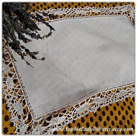 White Antique Rectangle Crepe Doily Lace Trim #sophieladydeparis