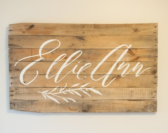 Custom Calligraphy Baby Name | Foraged Wood Sign | Nursery | Large