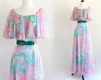 70s Rona Floral Flutter Grecian Goddess Boho Hippie Bridesmaid Wedding Bridal Angel Maxi Gown Dress . M . GT . No.495.9.12.13