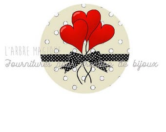 2 cabochons craft love heart message glass 20 mm - N580