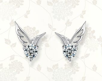 Cubic zirconia sterling silver angel wing earrings | angel wings | silver earrings | angel wing earrings | silver studs | silver earring