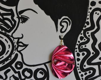 Electric pink leather earrings