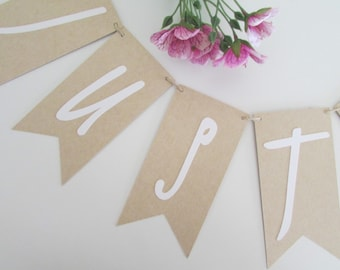 Just Married Banner | Rustic Wedding Banner | Just Married Sign | Wedding Bunting | Getaway Car Banner
