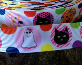 "3 yards 1"" Halloween Cat Kitty Spider Ghost and more Grosgrain"