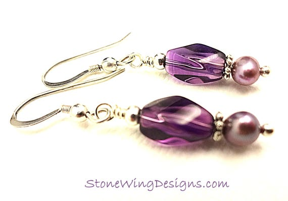 Amethyst Swirl and Lavender Pearl Earrings, February Birthstone