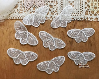 25pcs 4.5*3.8cm  ivory organza butterfly embroidery lace appliques patches L14Q174 free ship