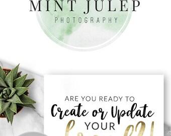 LOGO, Premade, Logo Design, Branding, Blog Header, Blog Title, Business, Boutique, Custom, Gold, Mint, Green, Watercolour, Shop Logo, 107