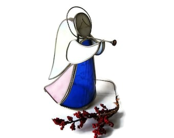 Stained Glass Christmas Angel Figurine Vintage  Candle Sconce Blowing a Horn
