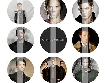 INSTANT DOWNLOAD - Supernatural inspired 4x6 One Inch Digital Bottle Cap Images