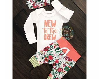 Newborn Baby girl coming home outfit Coral New to the Crew, Coral Floral theme hello world baby girl shower gift coming