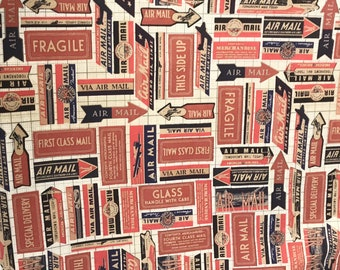 Tim Holtz Fabric Correspondence Air Mail / 100 % Cotton / Eclectic Fabric / Sold by the Yard