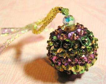 Ornament - Small Sequined and Beaded Ornament - Car Charm - Ball Ornament - Swarovski Old-Fashioned Decoration
