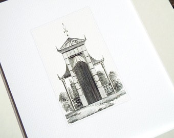 Sepia Pagoda Style Garden Tea House Antique Illustration Archival Print