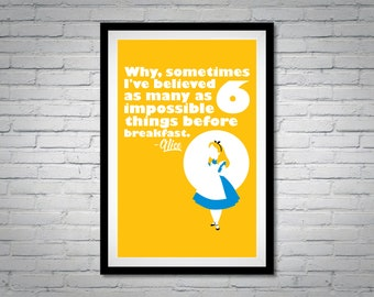 Alice in Wonderland | 6 Impossible Things | Inspirational Wall Art Digital Print Download
