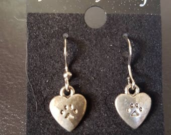 Silver heart paw print earrings
