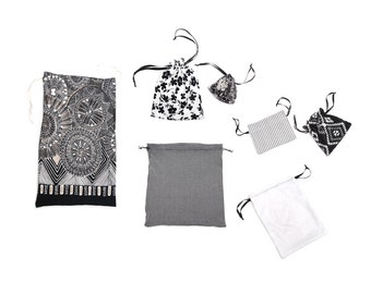 Cotton cloth bag fabric pouch set, black, grey and white flowers, folk, checkered mandala pattern, eco friendly gift wrap, made in Vienna