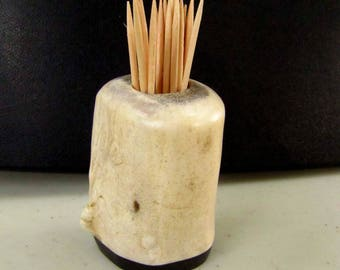 Unique Caribou Antler Toothpick Holder, Match Stick Holder,Ebony Wood Base, TP-30