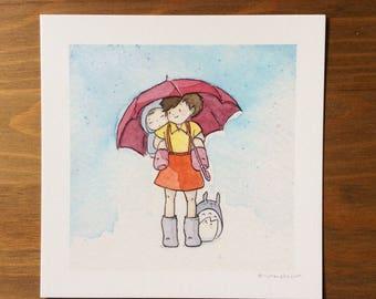 My Neighbor Totoro Watercolor Print 5x5 by Kendra Minadeo Studio Ghibli, Miyazaki
