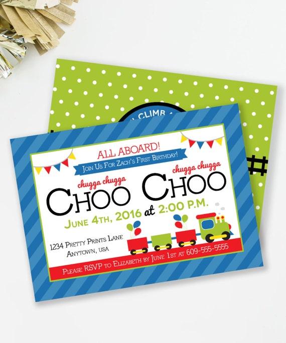 Choo choo invitation train birthday all aboard invite like this item filmwisefo