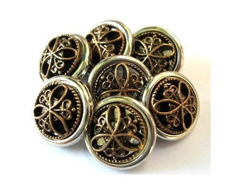 10 Vintage buttons, silver color plastic with trim in the center, shank buttons, 13mm