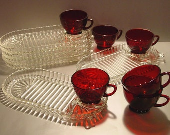 Anchor Hocking Serva Snack Set for (6) Oval/ Ribbed Plates, Ruby Cups, Luncheon, Party