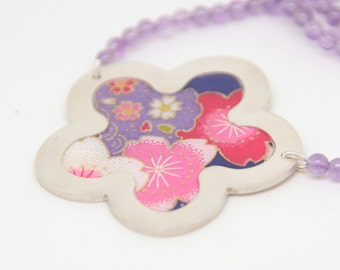 Large Ume Blossom necklace with Amethyst