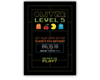 Gaming Birthday Party Invite, Pac Man, Game on, Level Up, Personalized Birthday Invitations, Printable, Retro, Arcade