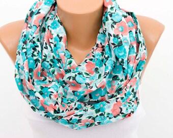 SALE flowered summer cotton infinity scarf ,loop scarf