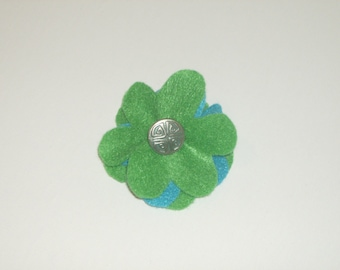 SALE: Green & blue layered felt flower pin brooch with vintage silver button