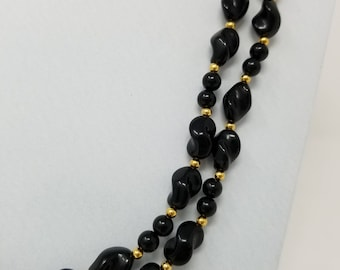 "Vintage 1960s Signed Trifari Multi Strand Black and Gold ""Pinched"" Beaded Necklace"