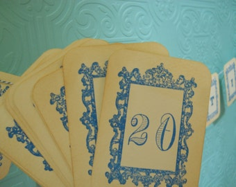 Royal Table Number Cards, Royal frame shower table numbers, royal frame, Vintage blue  table numbers cards