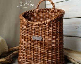 Rustic Door basket Wicker hanging wall basket Interior basket Basket for flowers Cottage wall decor basket & Door baskets | Etsy