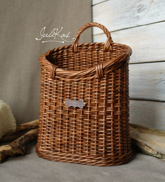 Front Door Baskets: Rustic Door Basket Wicker Hanging Wall Basket Interior Basket