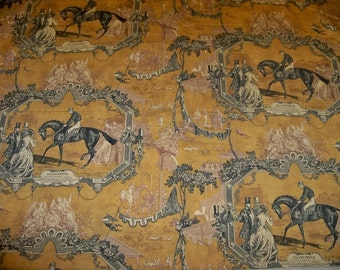 KRAVET Lee Jofa GLADIATEUR EQUESTRIAN Horse Toile Fabric 10 yards Amber Ink