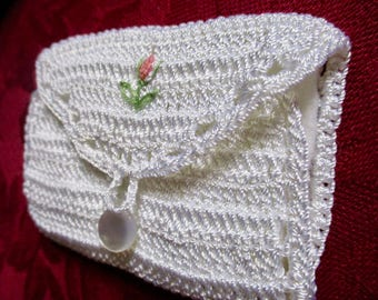 Vintage Silk Crochet Needle Case Handcrafted 9 x 6 cm cute