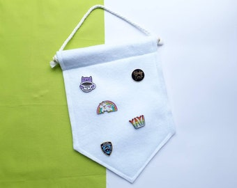 Pin Banner | Plain Enamel Pin Banner | Wall Hanging | Felt Display Banner