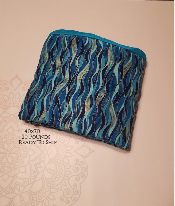 READY to SHIP, Weighted Blanket, 40x70-20 Pounds, Dragonfly Swirls, Teal Woven Cotton Back, Sensory Blanket, Calming Blanket,