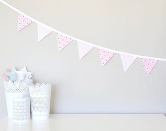 Fabric Bunting Garland Banner - Pink Floral and Stripe - Double-Sided - Girl Room/Nursery/Party Decor