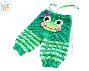Silly  Frogs Crochet Pants for Newborn Size -  Ready to Ship