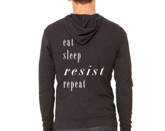 Resistance Hoodie | Resist Sweatshirt | Eat Sleep Resist Repeat Hoodie | Anti-Trump Hoodie | Resist Shirt | Protest Hoodie